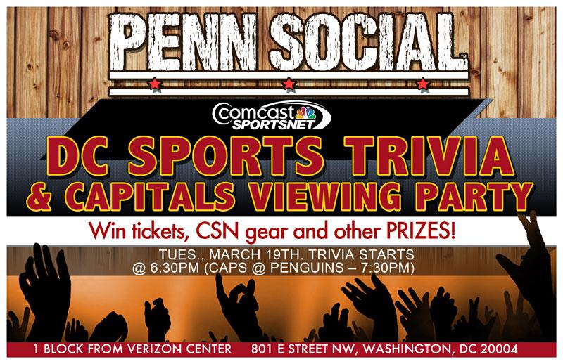 Penn Social DC Sports Trivia Night Flyer