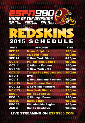 Washington Redskins, Schedule, Magnet, ESPN 980